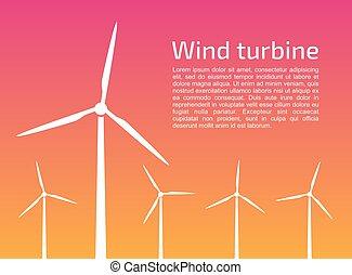 silhuetas, turbinas, vento