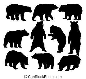 silhuetas, urso, animal, selvagem