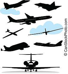 silhuetas, vário, aviões