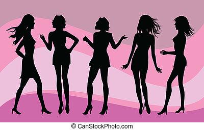 silhuetas, vário, mulheres