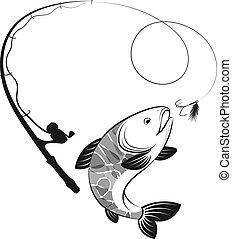 silhuetas, vara, peixe, pesca
