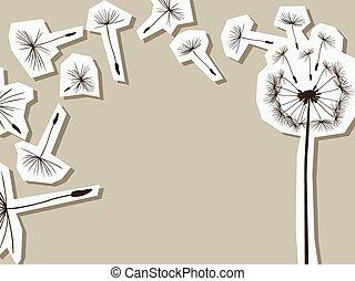 silhuetas, vento, dandelion