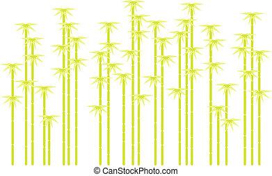 silhuetas, vetorial, árvore, bambu