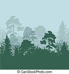 silhuetas, vetorial, árvore, ilustração