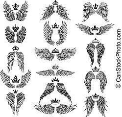 silhuetas, vetorial, asas, coroas
