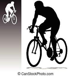silhuetas, vetorial, ciclismo, homem