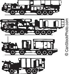 silhuetas, vetorial, classificação, caminhões