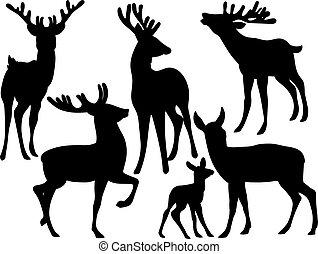 silhuetas, vetorial, deers