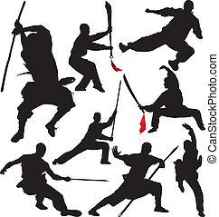 silhuetas, vetorial, fu, shaolin, kung