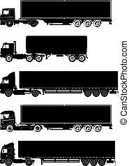 silhuetas, vetorial, jogo, caminhões