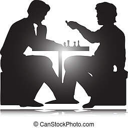 silhuetas, vetorial, jogo, homem, xadrez