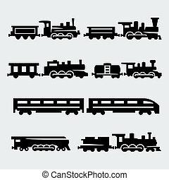 silhuetas, vetorial, jogo, isolado, trens