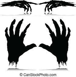 silhuetas, vetorial, monstro, mão