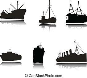 silhuetas, vetorial, navios