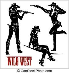 silhuetas, vetorial, ocidental, ilustração, cowgirls.