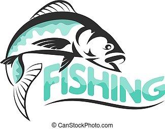 silhuetas, vetorial, pesca