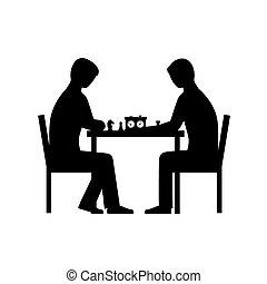 silhuetas, vetorial, pessoas, xadrez, tocando