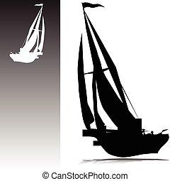 silhuetas, vetorial, sailing barco
