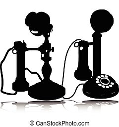 silhuetas, vetorial, telefone velho