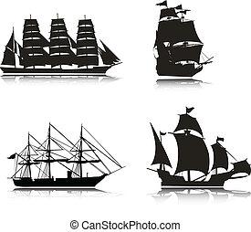 silhuetas, vetorial, velejando