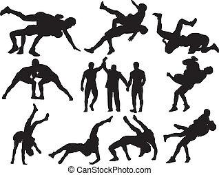 silhuetas, vetorial, wrestling