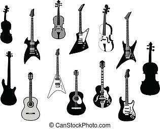 silhuetas, violões