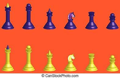 silhuetas, xadrez, 3d