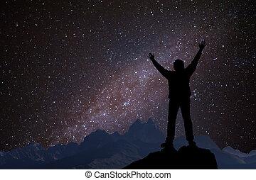silhuett, a, man, och, stjärnor