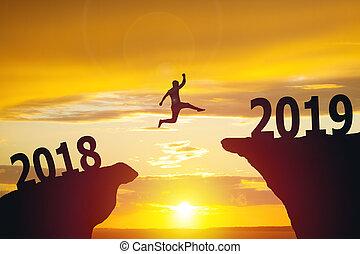 silhuett, affär, hoppning, 2019, 2018, man