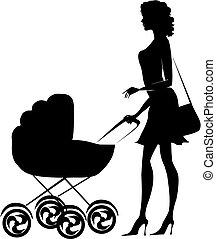 silhuett, av, a, dam, pressande, a, barnvagn