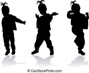 silhuett, av, a, dansande, flicka