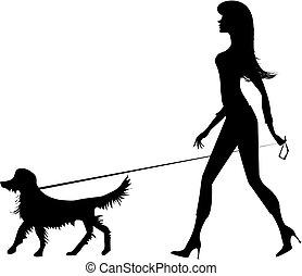 silhuett, av, a, flicka, och, a, hund