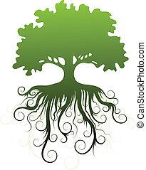 silhuett, av, a, träd