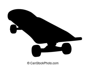 silhuett, av, a, väl, använd, skateboard
