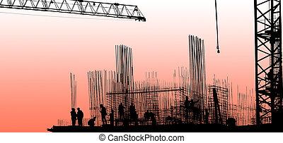 silhuett, av, anläggningsarbetare