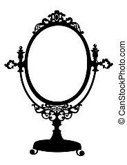 silhuett, av, antikvitet, smink spegla
