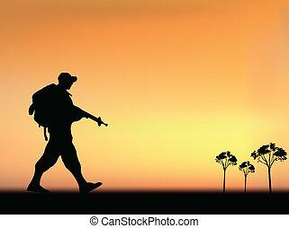 silhuett, av, en, här, soldat, vandrande