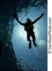 silhuett, av, en, undervattens, fotograf