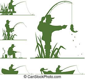 silhuett, av, fiskare