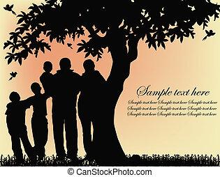 silhuett, av, folk, och, träd