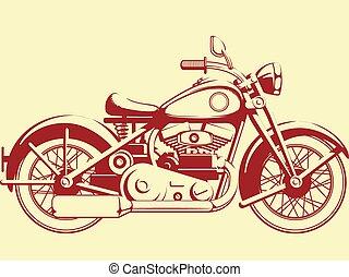 silhuett, av, gammal, motorcykel