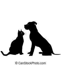 silhuett, av, hund, och, katt