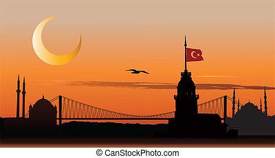 silhuett, av, istanbul, hos, solnedgång