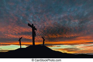 silhuett, av, jesus, korsfästelse