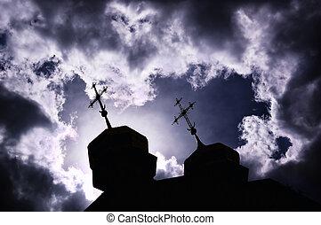 silhuett, av, kyrka, med, korsar