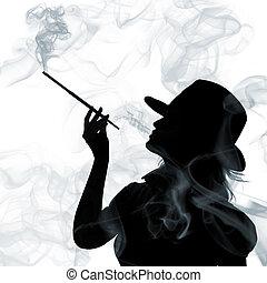 silhuett, av, rökning, kvinna, isolerat, på, a, vit fond