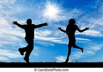 silhuett, av, spring, till möt, den, herre och kvinna
