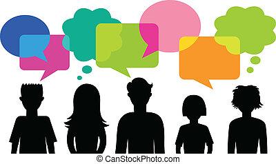 silhuett, av, ungdomar, med, anförande, bubblar