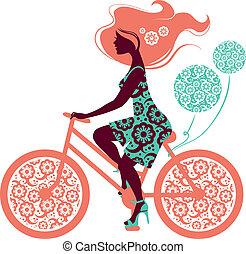 silhuett, av, vacker, flicka, på, cykel