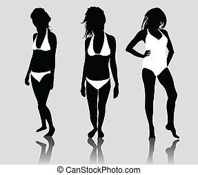 silhuett, bikini, flickor